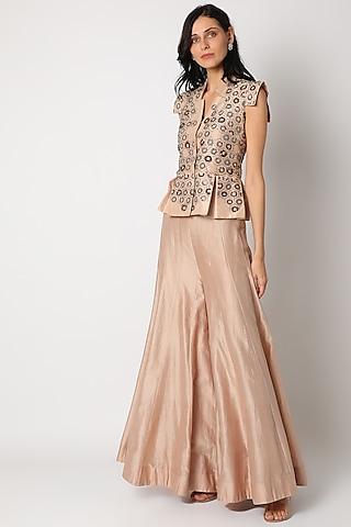 Blush Pink Embroidered Sharara Set by Maison Blu