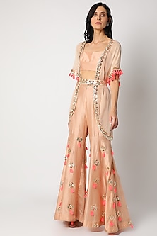 Peach Embroidered Sharara Set by Maison Blu-POPULAR PRODUCTS AT STORE