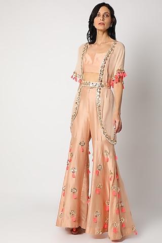 Peach Embroidered Sharara Set by Maison Blu