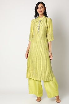 Lime Green Embellished Kurta Set by Maison Blu-POPULAR PRODUCTS AT STORE