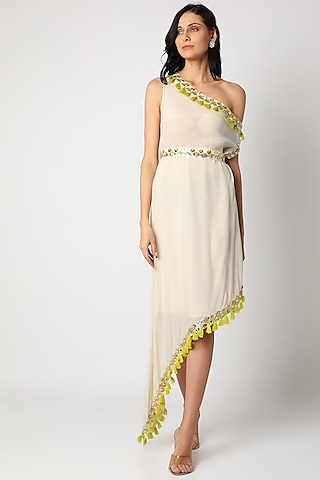 Ivory Embroidered Dress With Belt by Maison Blu