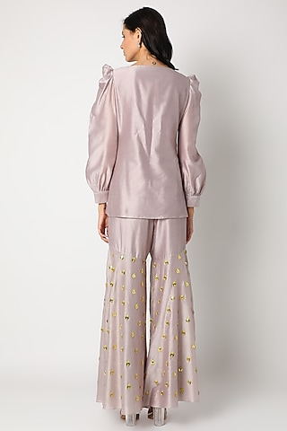Mauve Embroidered Sharara Set by Maison Blu
