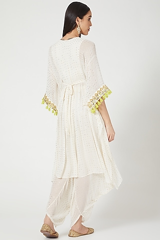 Off White Embroidered Cowl Pant Set by Maison Blu