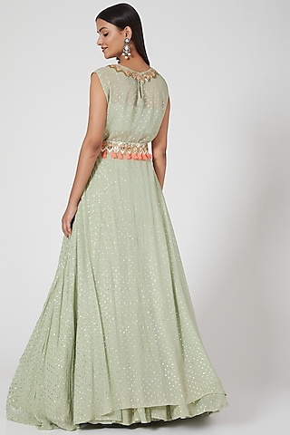 Pistachio Green Embroidered Skirt Set by Maison Blu
