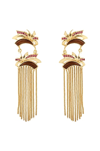 Gold Plated Ruby Earrings by Madiha Jaipur