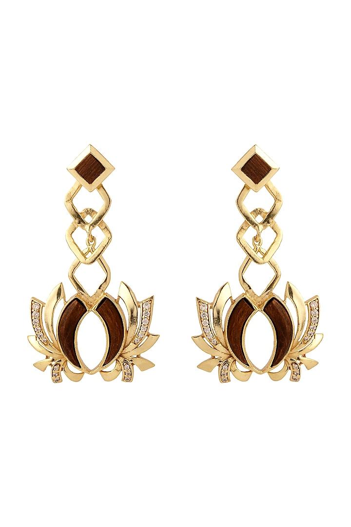 Gold Plated Rose Wood Earrings by Madiha Jaipur