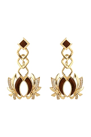 Gold Plated Rose Wood Earrings by Madiha Jaipur