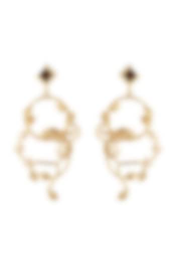 Gold Plated Pearls Earrings by Madiha Jaipur
