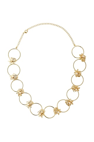 Gold Finish Pearls Necklace by Madiha Jaipur