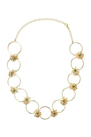 Gold Finish Nano Stone Necklace by Madiha Jaipur