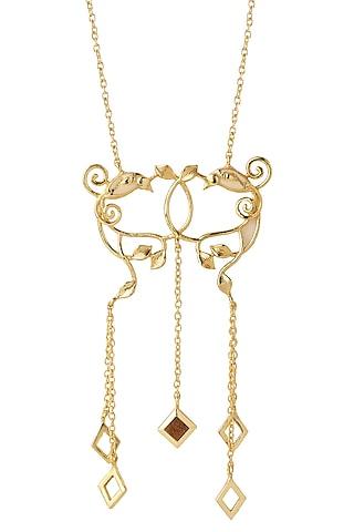 Gold Finish Pendant Necklace by Madiha Jaipur