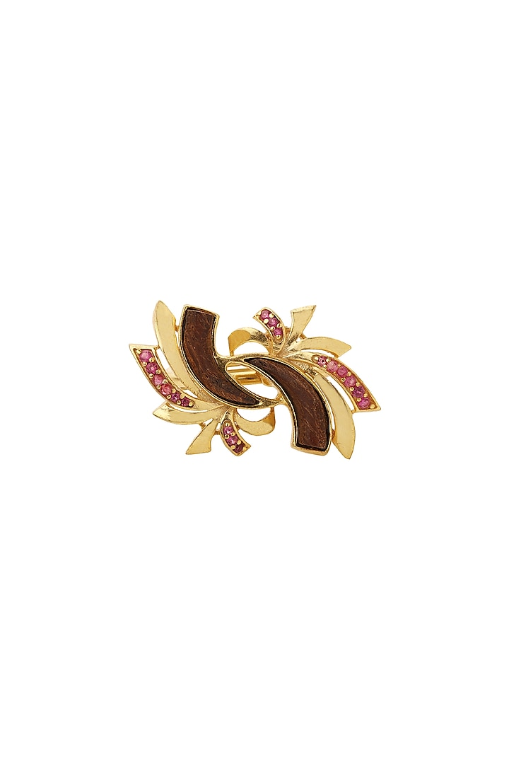 Gold Plated Ruby Zirconia Ring by Madiha Jaipur