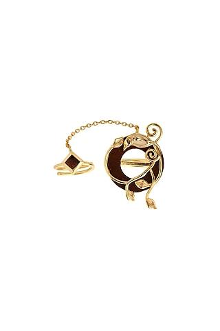 Gold Finish Enamel Ring by Madiha Jaipur