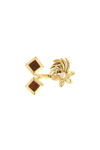 Gold Plated Pearls Ring by Madiha Jaipur