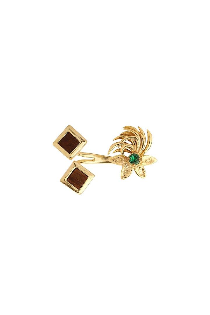 Gold Plated Nano Stones Ring by Madiha Jaipur