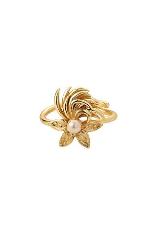 Gold Finish Pearls Rings by Madiha Jaipur