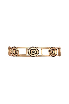 Gold Plated Enameled Adjustable Bracelet Cuff by Madiha Jaipur