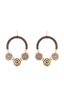 Gold Plated Wood Hoop Earrings by Madiha Jaipur