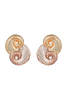 Gold & Rose Gold Plated Earrings by Madiha Jaipur