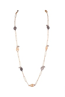 Gold Plated Shell Chain Necklace by Madiha Jaipur