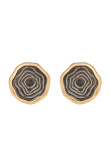 Gold Plated Enameled Stud Earrings by Madiha Jaipur
