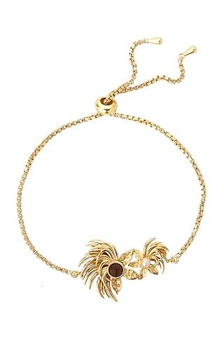 Gold Plated Pearl Bird Bracelet by Madiha Jaipur