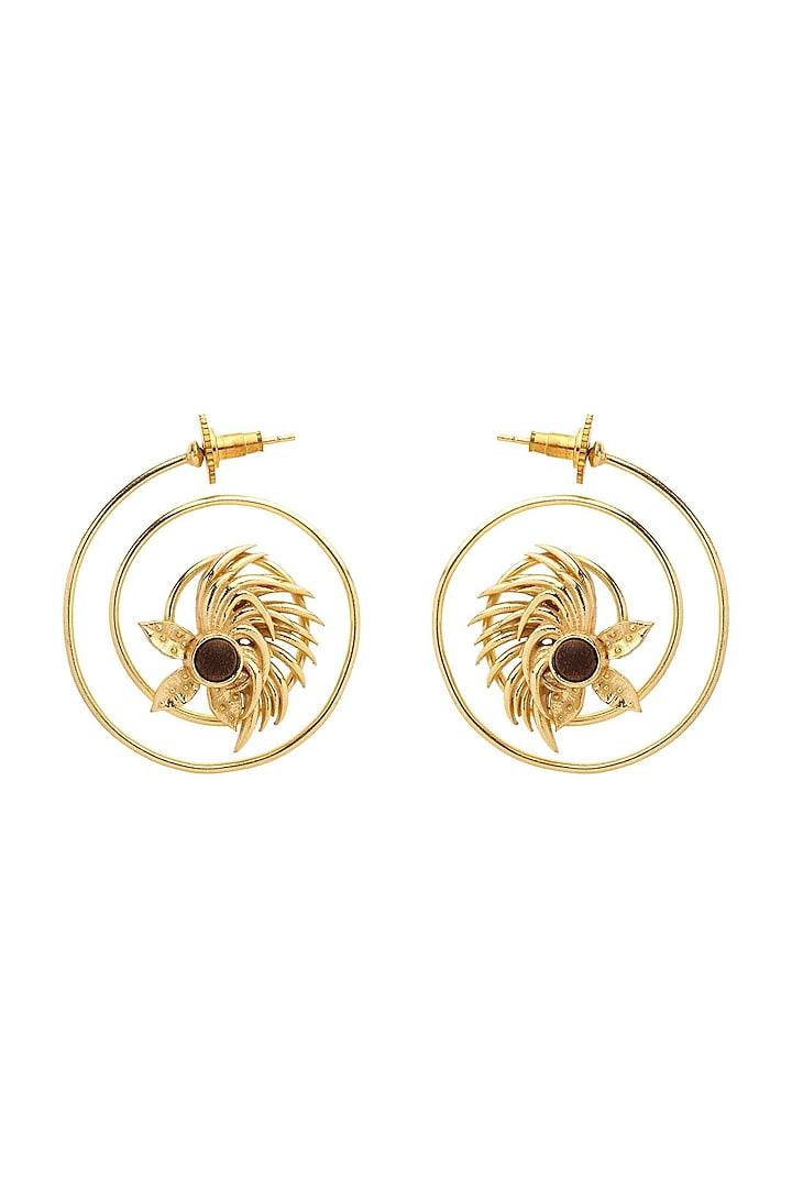 Gold Plated Hoop Earrings by Madiha Jaipur