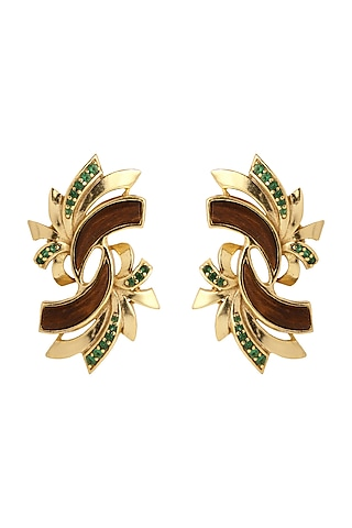 Gold Plated Green Stone Earrings by Madiha Jaipur