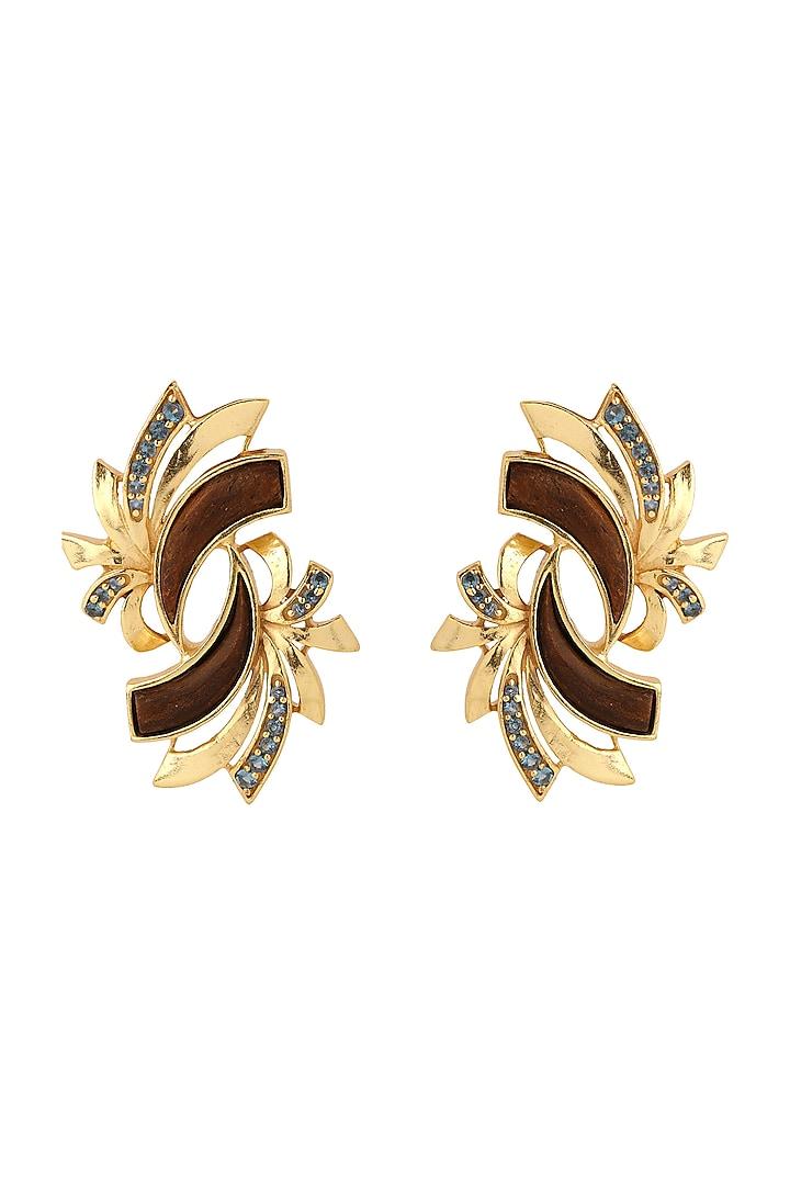 Gold Plated Blue Topaz Earrings by Madiha Jaipur