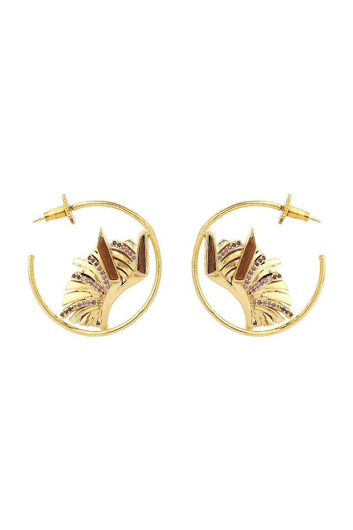 Gold Plated Amethyst Earrings by Madiha Jaipur