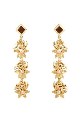 Gold Plated Pearl Dangler Earrings by Madiha Jaipur