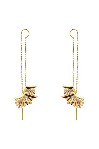 Gold Plated Ruby Stud Earrings by Madiha Jaipur