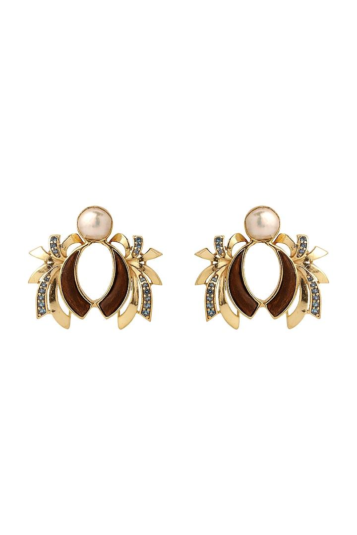 Gold Plated Blue Topaz Stud Earrings by Madiha Jaipur