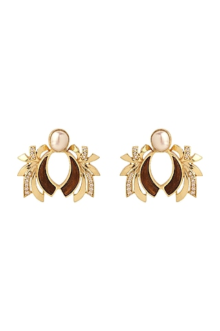 Gold Plated Pearl Stud Earrings by Madiha Jaipur
