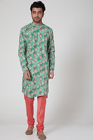 Mint Green & Pink Printed Kurta Set by Mr. Ajay Kumar