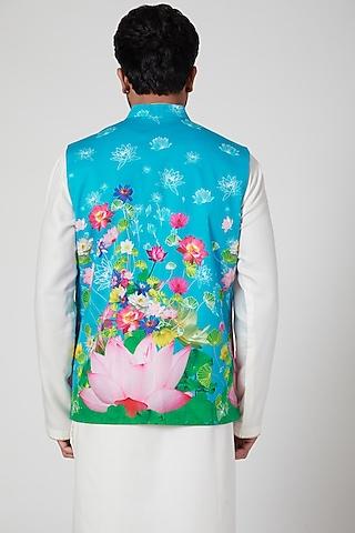 Sky Blue Digital Printed Bundi Jacket by Mr. Ajay Kumar