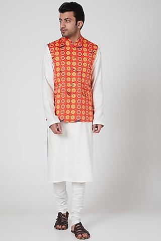 Red Printed Bundi Jacket by Mr. Ajay Kumar