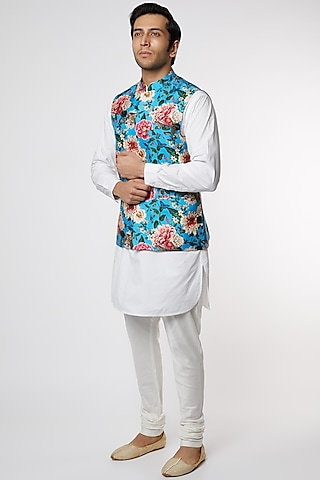 Sky Blue Silk Jacket by Mr. Ajay Kumar