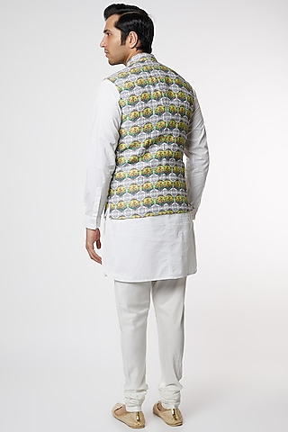Grey Linen Bundi Jacket by Mr. Ajay Kumar