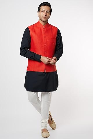Red Linen Bundi Jacket by Mr. Ajay Kumar