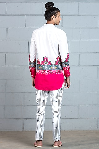 White Printed Shirt by Mr. Ajay Kumar
