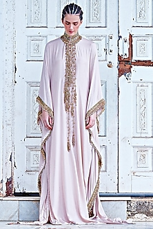Beige Kaftan With Hand Twisted Wire Tassels by Mala and Kinnary