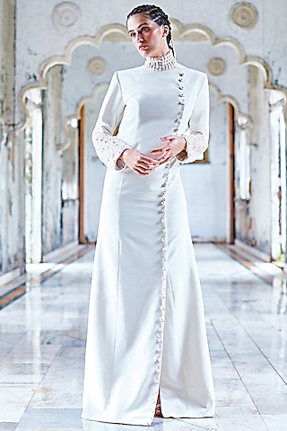 White Embellished Jacket Gown by Mala and Kinnary