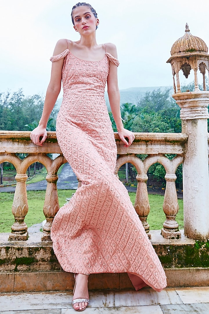 Bronze Gown With Handwork by Mala and Kinnary