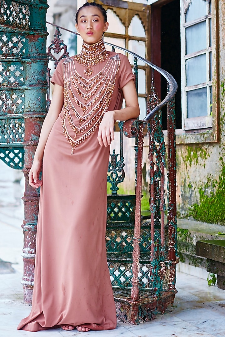 Pink Double Georgette Gown With Handwork by Mala and Kinnary