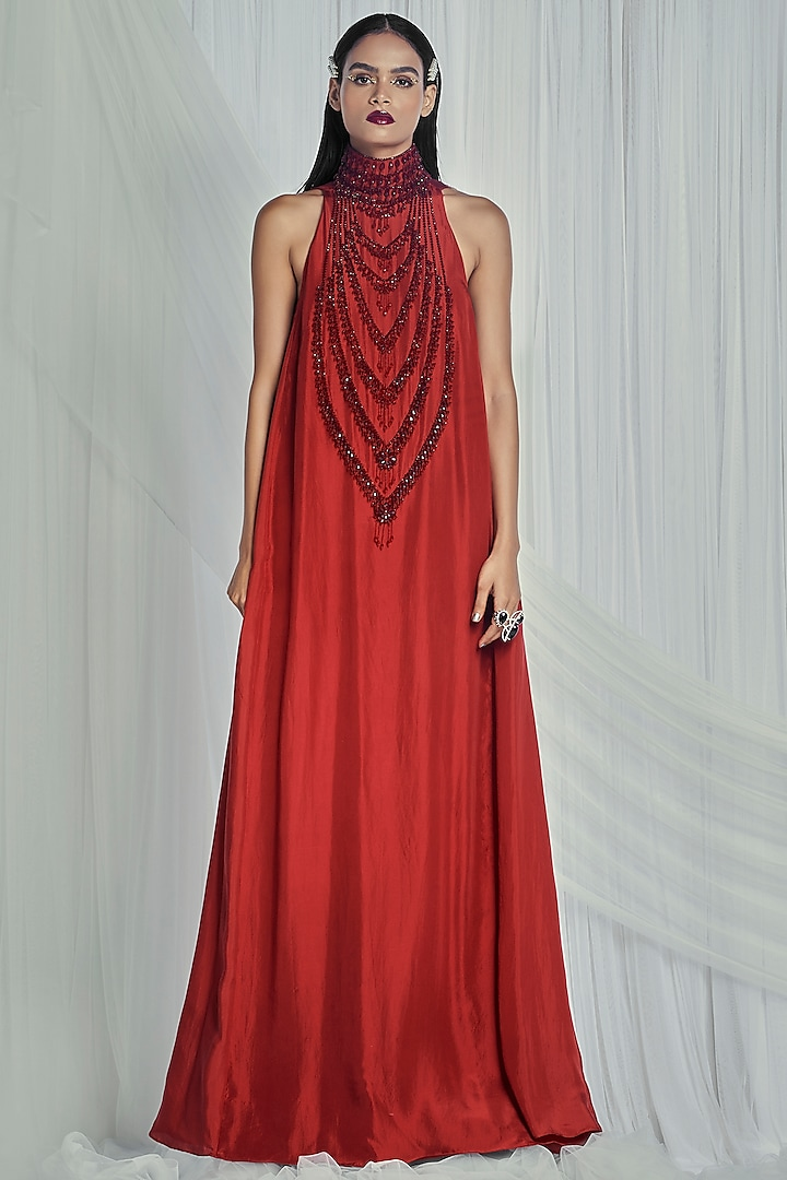 Ruby Embroidered Maxi Dress by Mala and Kinnary