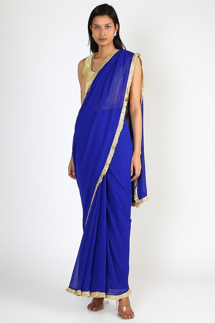 Blue Chiffon Saree by Manish Malhotra
