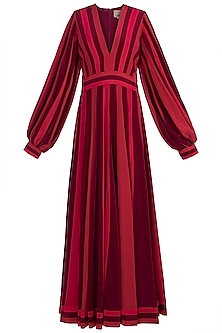Red & Wine Balloon Sleeves Gown by Manish Malhotra