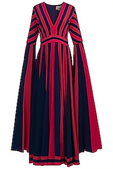 Red & Purple Long Sleeves Gown by Manish Malhotra