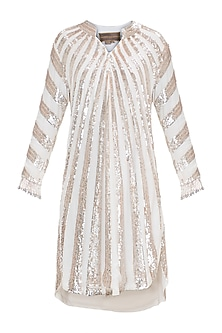 Ivory Embroidered Fringe Tunic by Manish Malhotra